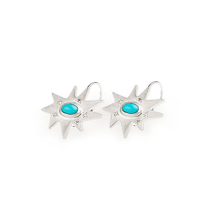 Silver Stellina Earrings: Turquoise