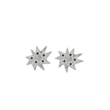 Mini Stella Silver Stud Earrings with Sapphire