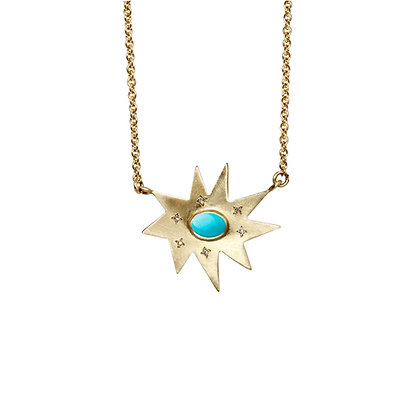 Gold Stella Necklace: Turquoise