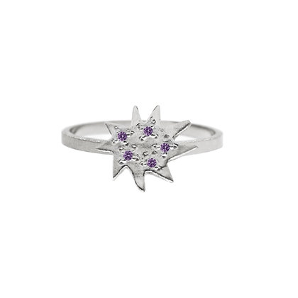 Mini Stella Silver Ring with Amethyst