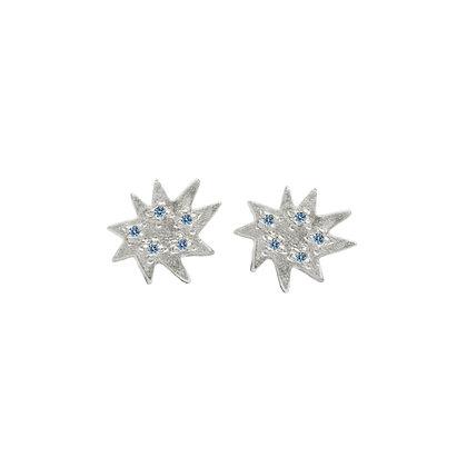 Mini Stella Silver Stud Earrings with Blue Topaz