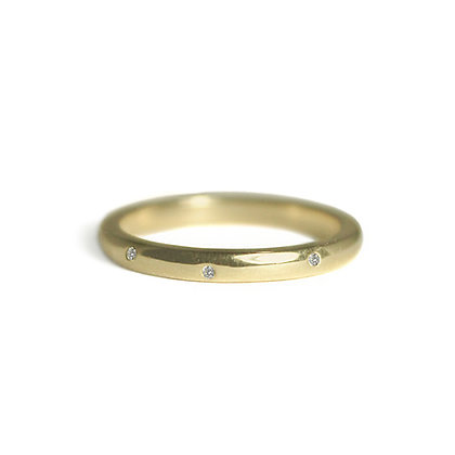 Polished Stacking Ring with Diamonds