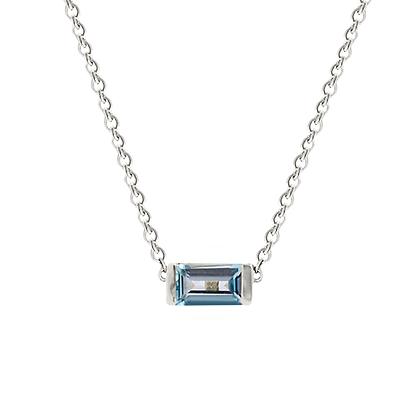 Sterling Silver Blue Topaz Bonbon Necklace