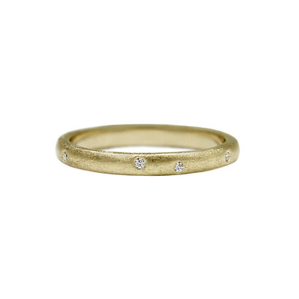 Matte Stacking Ring with Diamonds