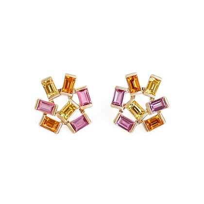 Large Pink, Yellow and Orange Sapphire Jubilation Studs
