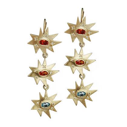 Gold Triple Stellina Earrings: Topaz