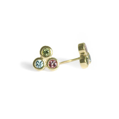Three Dot Earrings with Blue Topaz, Peridot, and Pink Topaz