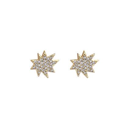 Mini Stella Stud Earrings with Pavé Diamonds