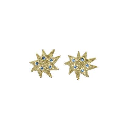 Mini Stella Stud Earrings with Blue Topaz