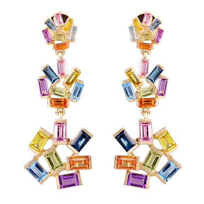 Gemstone Triple Jubilation Earrings