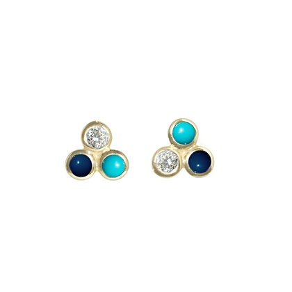 Three Dot Earrings with Diamond, Lapis and Turquoise