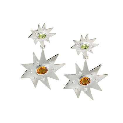 Silver Double Earrings: Peridot and Citrine