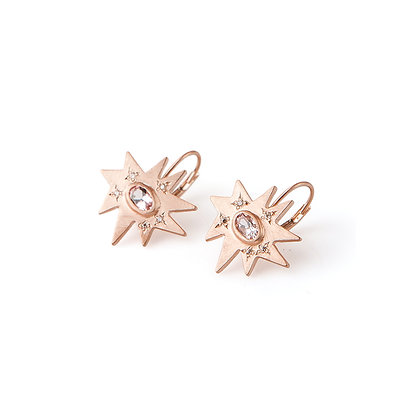 Rose Gold Stellina Earrings: Morganite