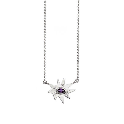 Silver Stellina Necklace: Amethyst