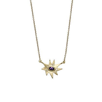 Gold Stellina Necklace: Amethyst