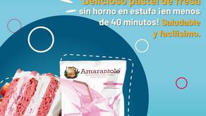 Pastel de Fresa con Amarantole ¡Sin horno! ¡en estufa!