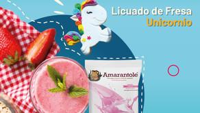 Licuado de Fresa 🍓Unicornio🦄 con Amarantole, libre de lactosa
