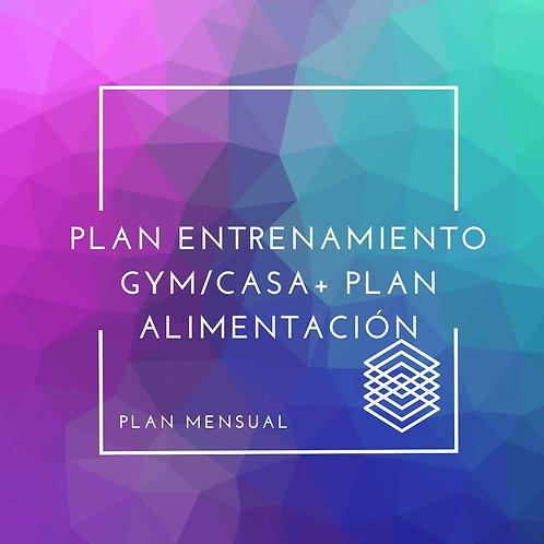 PLAN DE ENTRENAMIENTO PARA GYM/CASA + PLAN DE ALIMENTACIÓN