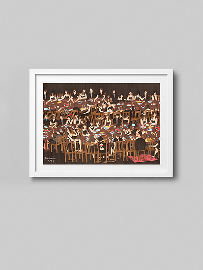"""Signed """"Grief lunch"""" giclée print"""