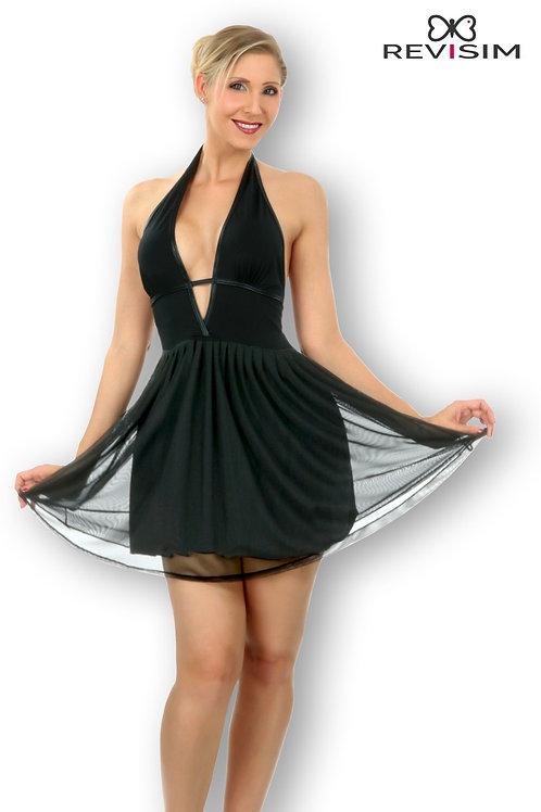 Candice robe noire doublée voile dos nu