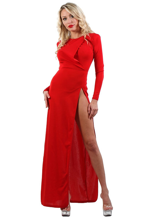 Robe longue rouge dos nu Mademoiselle (TT)