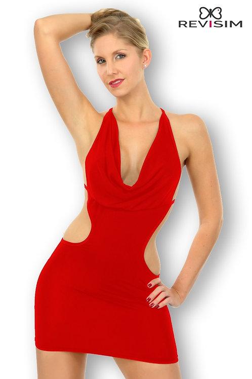 Lana Robe rouge très décolletée et dos nu