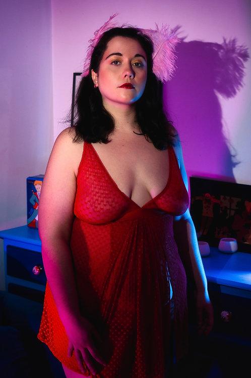 Nuisette rouge Love, love, love imprimé de petit coeurs de douceur (CLD)
