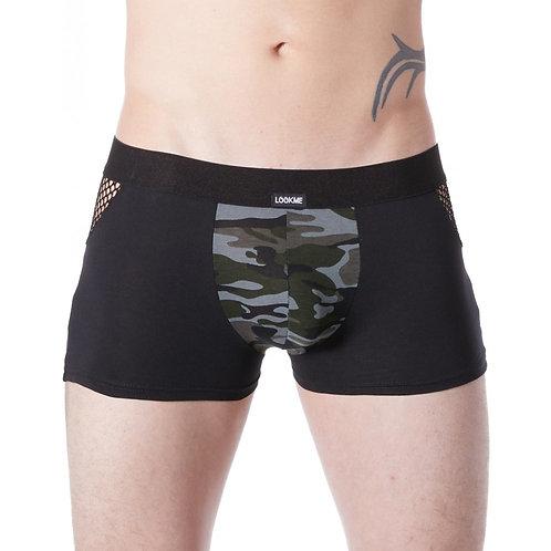 Boxer noir sexy armée déco camouflage côtés résille