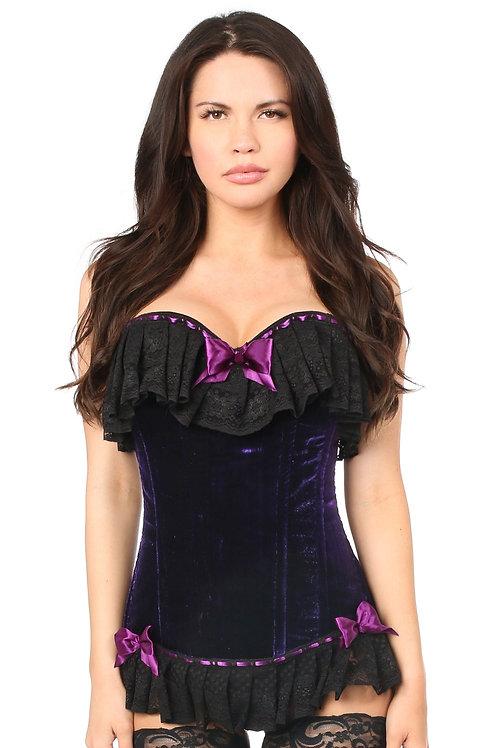 Corset burlesque velours violet somptueux avec dentelle
