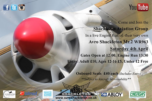 Engine Run (On Board Seat, inc gate entry) Event Ticket