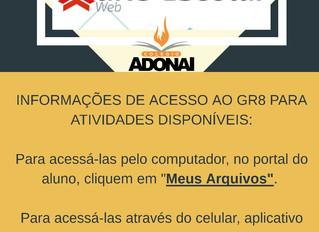 Informações de acesso ao GR8 para atividades