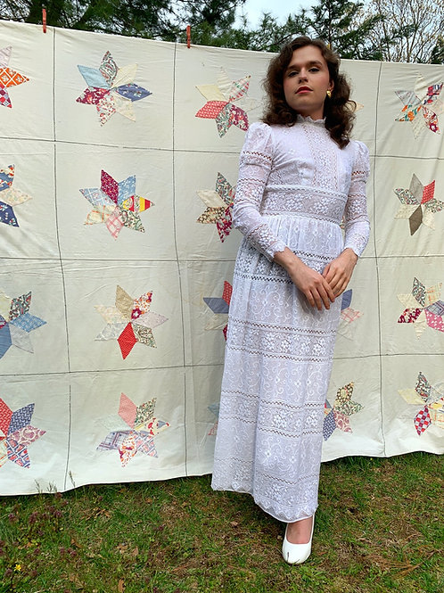 1970s White Lace Victorian Style Dress