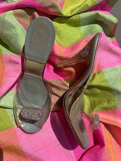 "1950s Rhinestone Lucite ""Spring-o-lator"" Heels"