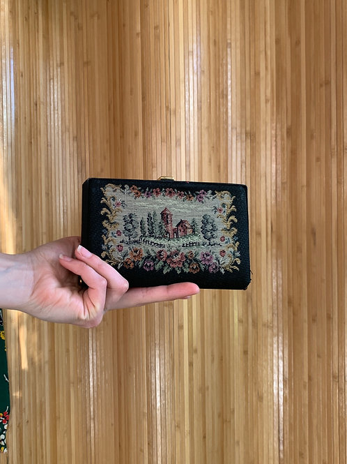 1950s Tapestry Box Clutch Evening Bag