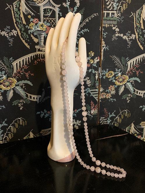 Vintage Rose Quartz Beaded Necklace