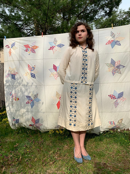 1920s Silk Embroidered Shift Dress