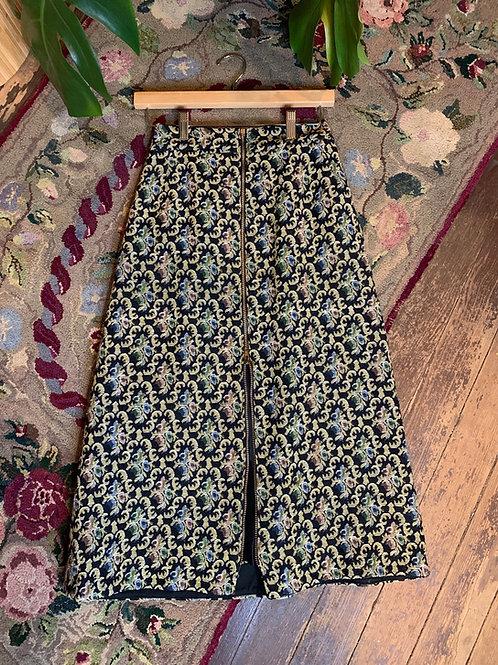 Woven Zip-Up Midi Skirt