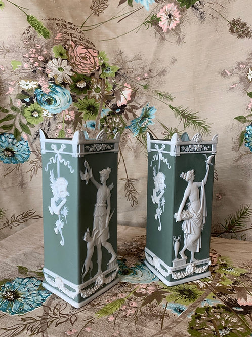 Pair of Wedgewood Jasperware Sage-Green Vases