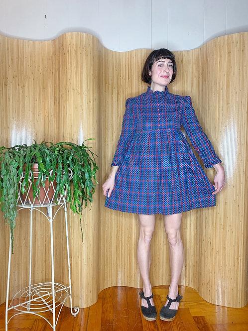 1970s Plaid Mini Dress
