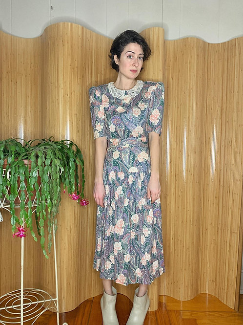 1980s Floral and Lace Day Dress