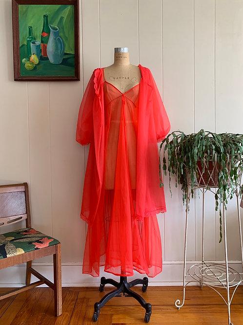 1960s Cherry Red Sheer Peignoir Set