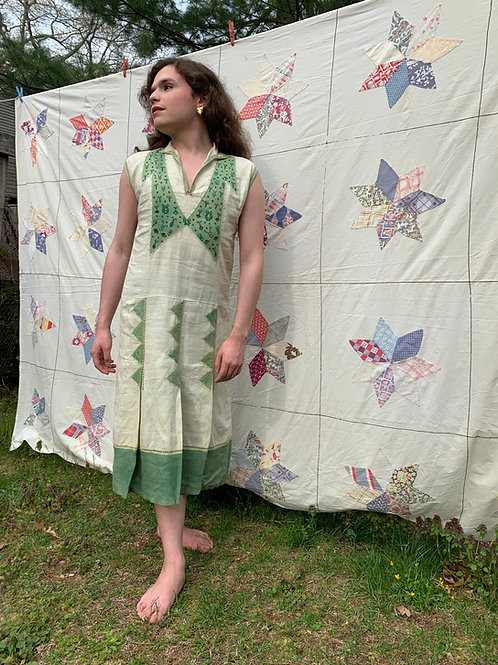 1920s Linen Embroidered Shift