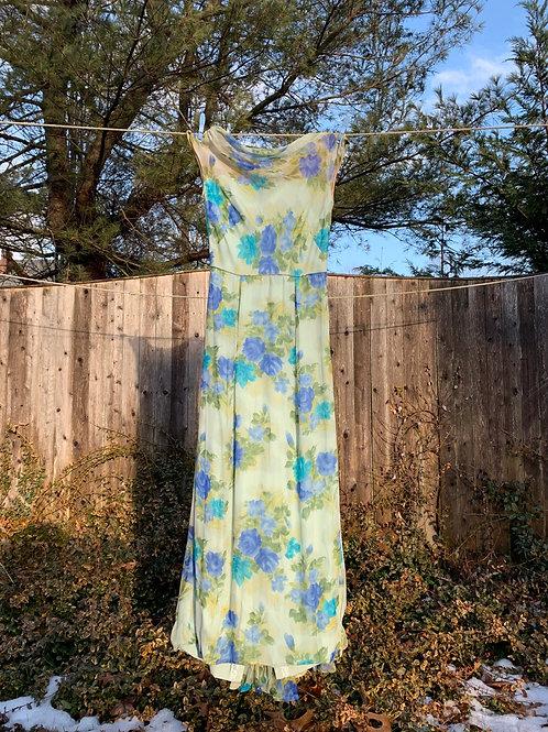 1950s Chiffon Floral Dress