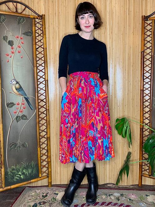 1980s Carol Little Rayon Midi Skirt