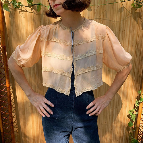 1930s Silk and Lace Bed Jacket