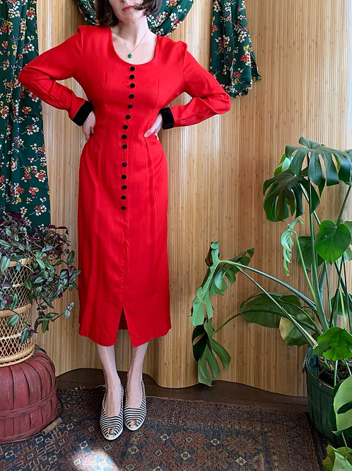 Red and Velvet Tie-Back Dress
