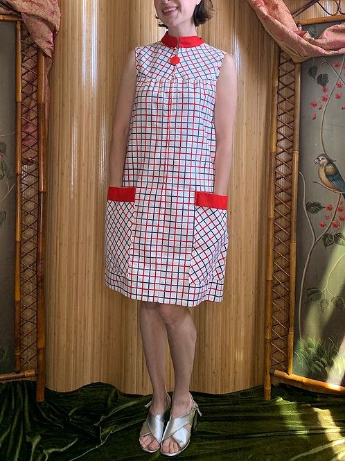 Red White and Blue Checked Shift Dress with Lucite Zipper
