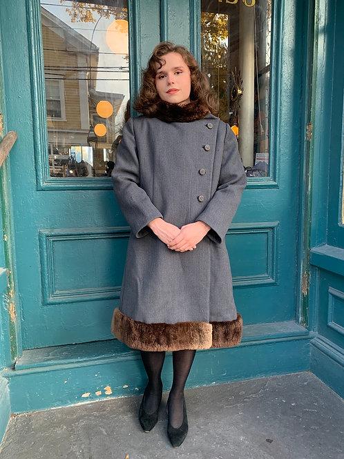 1940s Fur-Trim Wool Coat