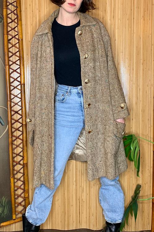 1970s Brown Tweed Swing Coat