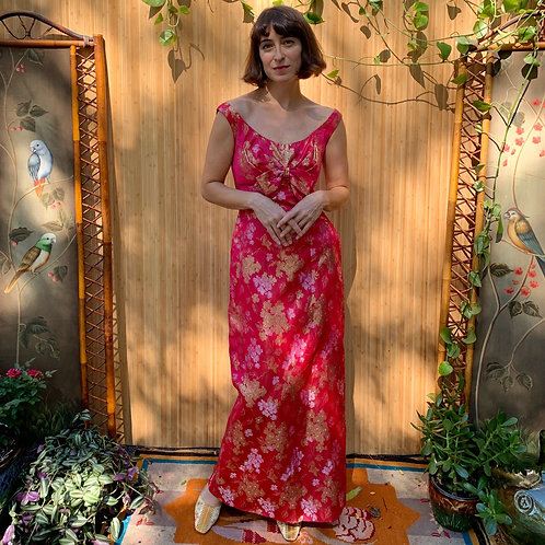 1960s Silk and Gold Thread Brocade Evening Gown